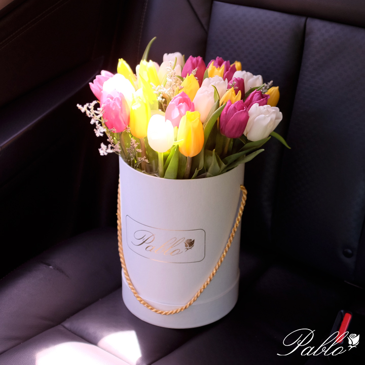 tulips bucket white